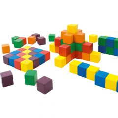 Colourful Wooden Pattern Cubes - Set of 100