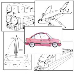 Simple Colouring for Adults - Transport - Set of 48